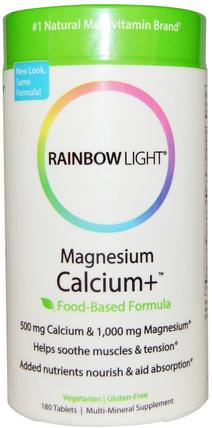Magnesium Calcium+, Food-Based Formula, 180 Tablets by Rainbow Light, 補充劑,礦物質,鈣和鎂,健康,骨骼,骨質疏鬆症 HK 香港