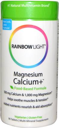 Magnesium Calcium+, Food-Based Formula, 90 Tablets by Rainbow Light, 補充劑,礦物質,鈣和鎂,健康,骨骼,骨質疏鬆症 HK 香港