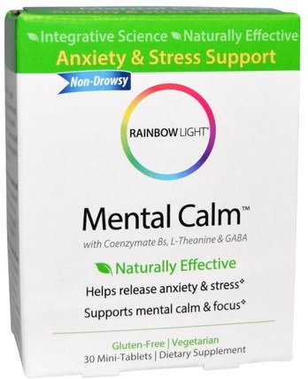Mental Calm, 30 Mini-Tablets by Rainbow Light, 健康,抗壓力,焦慮 HK 香港
