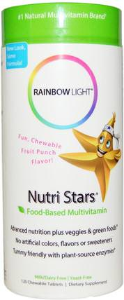 Nutri Stars, Food-Based Multivitamin, Fruit Punch Flavor, 120 Chewable Tablets by Rainbow Light, 維生素,多種維生素,兒童多種維生素 HK 香港