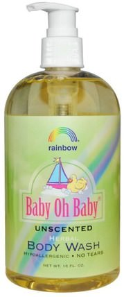 Rainbow Research, Baby Oh Baby, Herbal Body Wash, Unscented, 16 fl oz 洗澡,美容,沐浴露