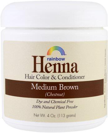 Henna, Hair Color and Conditioner, Medium Brown (Chestnut), 4 oz (113 g) by Rainbow Research, 洗澡,美容,頭髮,頭皮,頭髮的顏色,頭髮護理 HK 香港