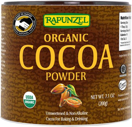Organic Cocoa Powder, 7.1 oz (201 g) by Rapunzel, 食品,可可(可可)巧克力,可可粉和混合物 HK 香港