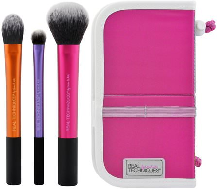 Travel Essentials, 3 Brushes + Case by Real Techniques by Samantha Chapman, 沐浴,美容,禮品套裝,化妝品禮品套裝,旅行樣品包 HK 香港