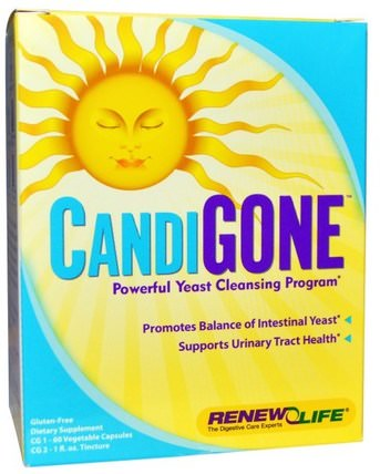 CandiGone, Powerful Yeast Cleansing Program, 60 Veggie Caps, 1 fl oz Tincture by Renew Life, 補充劑,辛酸,排毒 HK 香港