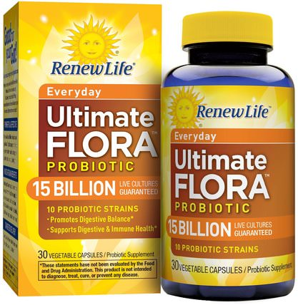 Everyday, Ultimate Flora Probiotic, 15 Billion Live Cultures, 30 Vegetable Capsules by Renew Life, 補充劑,益生菌,穩定的益生菌 HK 香港