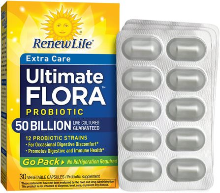 Extra Care, Ultimate Flora Probiotic, 50 Billion Live Cultures, 30 Vegetable Capsules by Renew Life, 補充劑,益生菌,穩定的益生菌 HK 香港