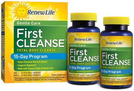 Gentle Care, First Cleanse, 2 Bottles, 30 Vegetable Capsules Each by Renew Life, 健康,排毒 HK 香港