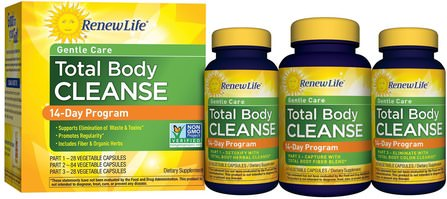 Gentle Care, Total Body Cleanse, 14-Day Program, 3-Part Program, Vegetable Capsules by Renew Life, 健康,結腸健康,排毒,結腸清洗 HK 香港