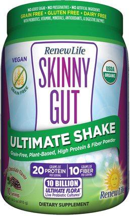 Renew Life, Skinny Gut, Ultimate Shake, Natural Chocolate Flavor, 14.5 oz (410 g) 補充劑,蛋白質,減肥,飲食