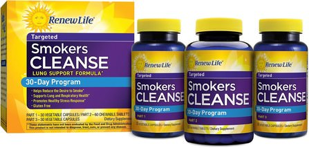 Renew Life, Targeted, Smokers Cleanse, Lung Support Formula, 30 Day Program, 3-Part Program 補充劑,5-htp,卡瓦卡瓦