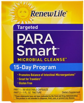 Targeted, ParaSmart, Microbial Cleanse, 2 Part Program by Renew Life, 補充劑,辛酸,排毒 HK 香港