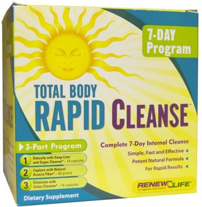 Total Body Rapid Cleanse, Complete 7-Day Internal Cleanse, 3-Part Program by Renew Life, 健康,結腸健康,排毒,結腸清洗 HK 香港