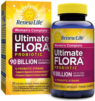 Womens Complete, Ultimate Flora Probiotic, 90 Billion Live Cultures, 30 Vegetable Capsules by Renew Life, 健康,女性,補品,益生菌,穩定的益生菌 HK 香港
