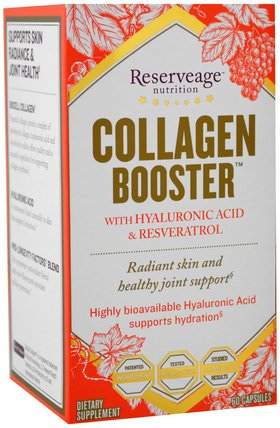 Collagen Booster with Hyaluronic Acid & Resveratrol, 60 Capsules by ReserveAge Nutrition, 健康,骨骼,骨質疏鬆症,II型膠原蛋白,抗衰老 HK 香港