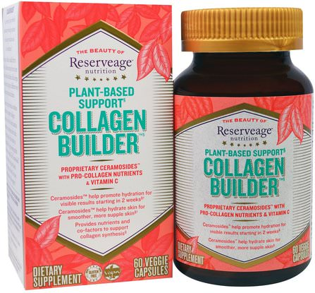 Collagen Builder, Plant-Based Support, 60 Veggie Caps by ReserveAge Nutrition, 健康,骨骼,骨質疏鬆症,膠原蛋白,皮膚 HK 香港