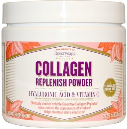 Collagen Replenish Powder, Flavorless Drink Mix, 2.75 oz (78 g) by ReserveAge Nutrition, 健康,骨骼,骨質疏鬆症,抗衰老,膠原蛋白 HK 香港