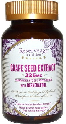 Grape Seed Extract, 325 mg, 60 Veggie Caps by ReserveAge Nutrition, 補充劑,抗氧化劑,抗氧化劑,葡萄籽提取物 HK 香港