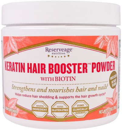 ReserveAge Nutrition, Keratin Hair Booster Powder with Biotin, 2.75 oz (78 g) 維生素,維生素B,生物素,健康,女性,頭髮補充劑,指甲補充劑,皮膚補充劑