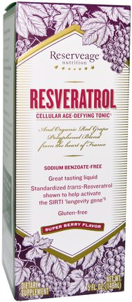 Resveratrol, Cellular Age-Defying Tonic, Super Berry Flavor, 5 fl oz (148 ml) by ReserveAge Nutrition, 補充劑,白藜蘆醇,咖啡茶和飲料,果汁 HK 香港