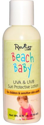 Beach Baby, UVA & UVB Sun Protective Lotion, 4 fl oz (118 ml) by Reviva Labs, 洗澡,美容,防曬霜,spf 05-25,兒童和嬰兒防曬霜 HK 香港
