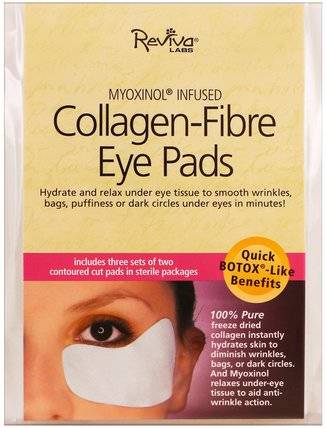 Collagen-Fibre Eye Pads, 3 Sets of Two Contoured Pads by Reviva Labs, 健康,骨骼,骨質疏鬆症,膠原蛋白,美容,眼霜 HK 香港