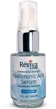 Hyaluronic Acid Serum, 1 fl oz (29.5 ml) by Reviva Labs, 美容,面部護理,面霜,乳液,健康,皮膚血清 HK 香港