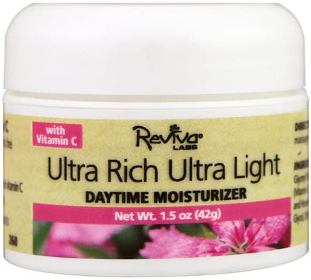 Ultra Rich Ultra Light Daytime Moisturizer, 1.5 oz (42 g) by Reviva Labs, 美容,面部護理,面霜乳液,精華素,皮膚類型正常至乾性皮膚 HK 香港