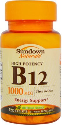 B-12, High Potency, Time Release, 1000 mcg, 120 Tablets by Sundown Naturals, 維生素,維生素b,維生素b12 HK 香港