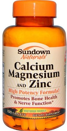 Calcium Magnesium and Zinc, 100 Caplets by Sundown Naturals, 補充劑,礦物質,鈣和鎂 HK 香港