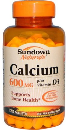 Calcium, Plus Vitamin D3, 600 mg, 120 Tablets by Sundown Naturals, 補充劑,礦物質,鈣維生素d HK 香港