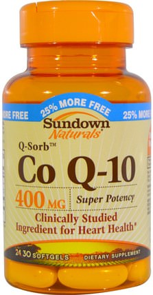 Co Q-10, 400 mg, 30 Softgels by Sundown Naturals, 補充劑,輔酶q10,coq10 400毫克 HK 香港
