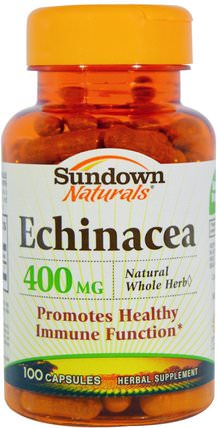 Echinacea, 400 mg, 100 Capsules by Sundown Naturals, 補充劑,抗生素,紫錐花膠囊片 HK 香港