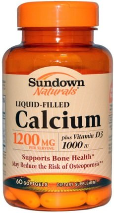 Liquid-Filled Calcium, Plus Vitamin D3, 1200 mg/1000 IU, 60 Softgels by Sundown Naturals, 補充劑,礦物質,鈣維生素d HK 香港