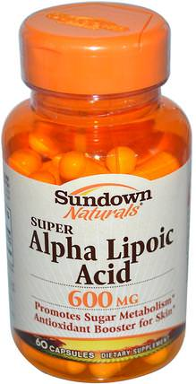 Super Alpha Lipoic Acid, 600 mg, 60 Capsules by Sundown Naturals, 補充劑,抗氧化劑,α硫辛酸,α硫辛酸600毫克 HK 香港