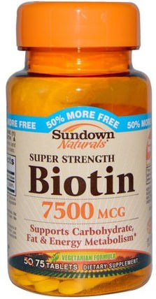 Super Strength Biotin, 7500 mcg, 75 Tablets by Sundown Naturals, 維生素,維生素B,生物素 HK 香港