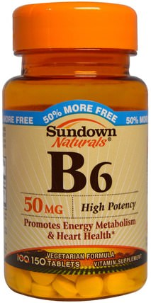 B6, High Potency, 50 mg, 150 Tablets by Sundown Naturals, 維生素,維生素b,維生素b6 - 吡哆醇 HK 香港