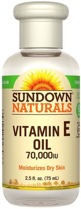 Vitamin E Oil, 70.000 IU, 2.5 fl oz (75 ml) by Sundown Naturals, 健康,皮膚,沐浴,美容油,身體護理油 HK 香港