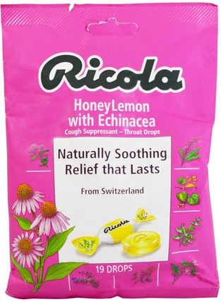 HoneyLemon with Echinacea Cough Suppressant, 19 Drops by Ricola, 健康,肺和支氣管,咳嗽滴 HK 香港