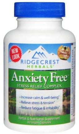 Anxiety Free, Stress Relief Complex, 60 Vegan Caps by RidgeCrest Herbals, 健康,焦慮 HK 香港