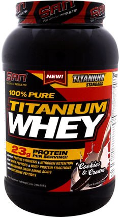 100% Pure Titanium Whey, Cookies & Cream, 33 oz (924 g) by SAN Nutrition, 運動,補品,乳清蛋白 HK 香港