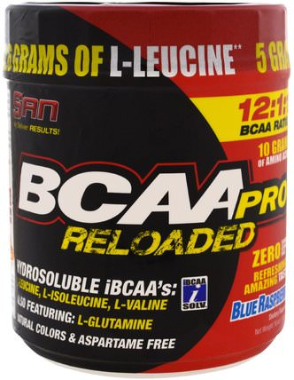 BCAA-Pro Reloaded, Blue Raspberry, 16 oz (456 g) by SAN Nutrition, 運動,補品,bcaa(支鏈氨基酸) HK 香港