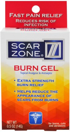 Burn Gel, Topical Analgesic & Antiseptic, 0.5 oz (14 g) by Scar Zone, 健康,皮膚,妊娠紋疤痕,抗疼痛 HK 香港