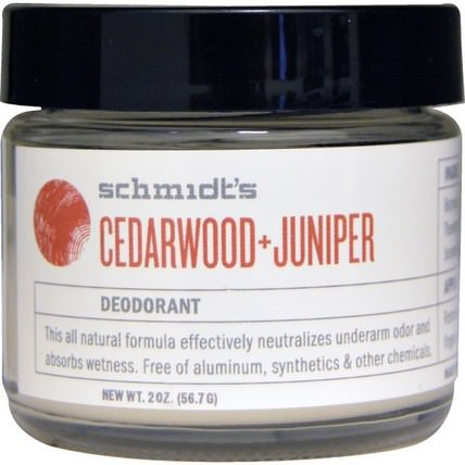 Cedarwood + Juniper, 2 oz (56.7 g) by Schmidts Natural Deodorant, 洗澡,美容,除臭劑 HK 香港