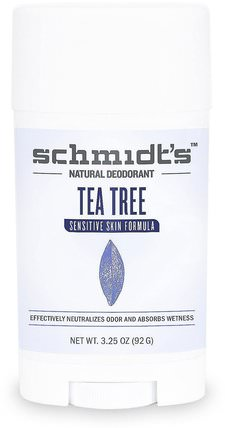 Sensitive Skin Formula, Tea Tree, 3.25 oz (92 g) by Schmidts Natural Deodorant, 洗澡,美容,除臭劑 HK 香港