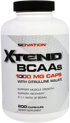 Scivation, Xtend BCAAs, 1000 mg, 200 Capsules 補充劑,氨基酸,bcaa(支鏈氨基酸),運動,鍛煉