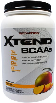 Xtend, BCAAs, Mango, 43.8 oz (1243 g) by Scivation, bcaa(支鏈氨基酸),運動,鍛煉 HK 香港