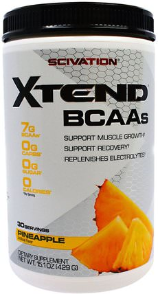 Xtend, BCAAs, Pineapple, 15.1 oz (429 g) by Scivation, 補充劑,氨基酸,bcaa(支鏈氨基酸),運動,鍛煉 HK 香港