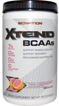 Xtend, BCAAs, Pink Lemonade, 15.0 oz (426 g) by Scivation, 運動,鍛煉,運動 HK 香港