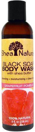 Shea Natural, Black Soap Body Wash, With Shea Butter, Grapefruit Pomelo, 8 fl oz (236 ml) 洗澡,美容,沐浴露